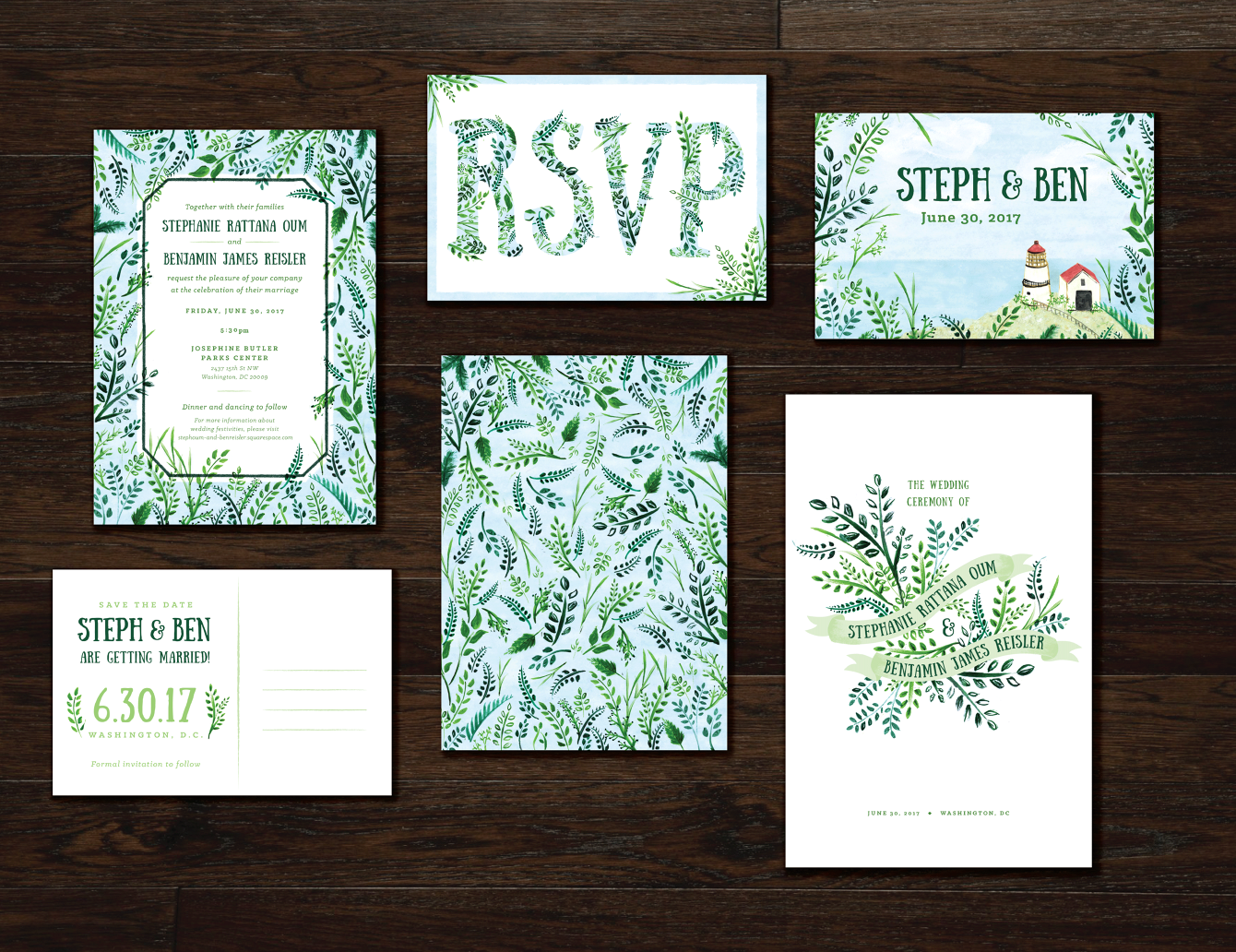 Steph and Ben Wedding Suite - Lauren Monaco Design and Illustration